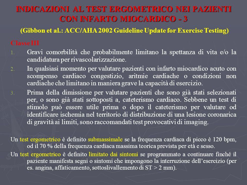 INDICAZIONI AL TEST ERGOMETRICO NEI PAZIENTI CON INFARTO MIOCARDICO - 3 (Gibbon et al.: ACC/AHA 2002 Guideline Update for Exercise Testing)