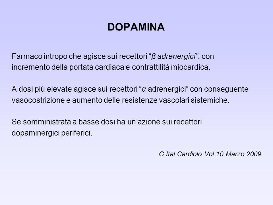 DOPAMINA Farmaco intropo che agisce sui recettori β adrenergici : con
