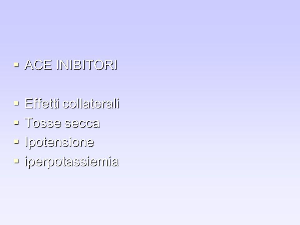 ACE INIBITORI Effetti collaterali Tosse secca Ipotensione iperpotassiemia