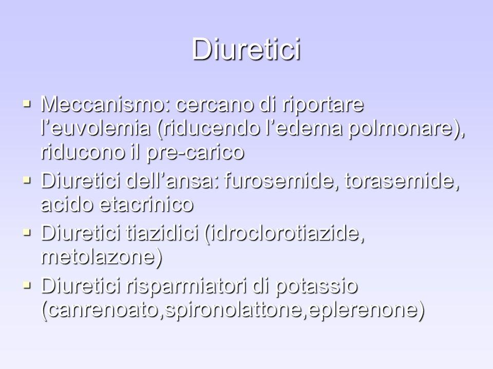 Diuretici Meccanismo: cercano di riportare l'euvolemia (riducendo l'edema polmonare), riducono il pre-carico.