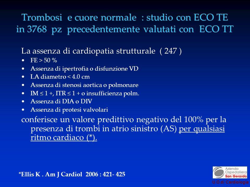 Trombosi e cuore normale : studio con ECO TE in 3768 pz precedentemente valutati con ECO TT