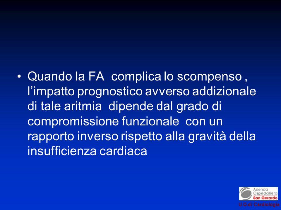 Quando la FA complica lo scompenso , l'impatto prognostico avverso addizionale di tale aritmia dipende dal grado di compromissione funzionale con un rapporto inverso rispetto alla gravità della insufficienza cardiaca