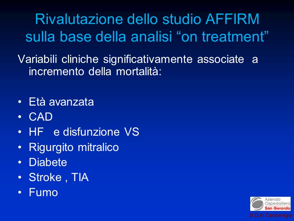Rivalutazione dello studio AFFIRM sulla base della analisi on treatment
