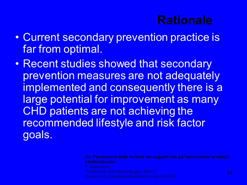 Rationale Current secondary prevention practice is far from optimal.