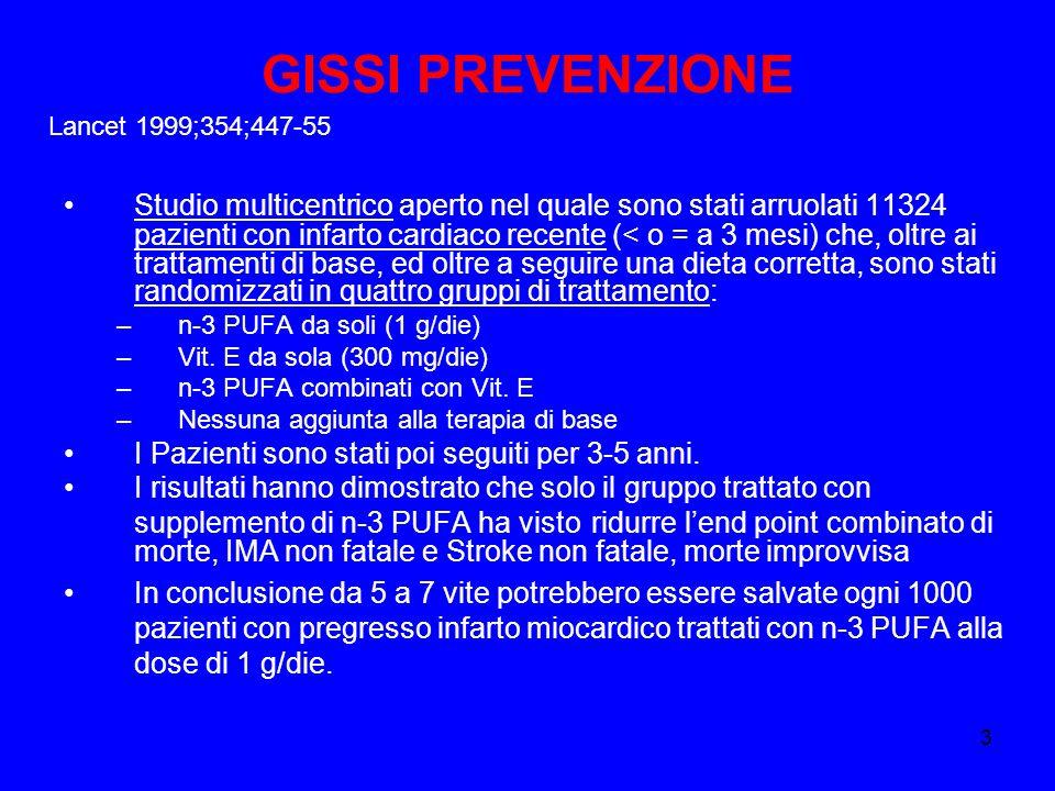 GISSI PREVENZIONE Lancet 1999;354;447-55.