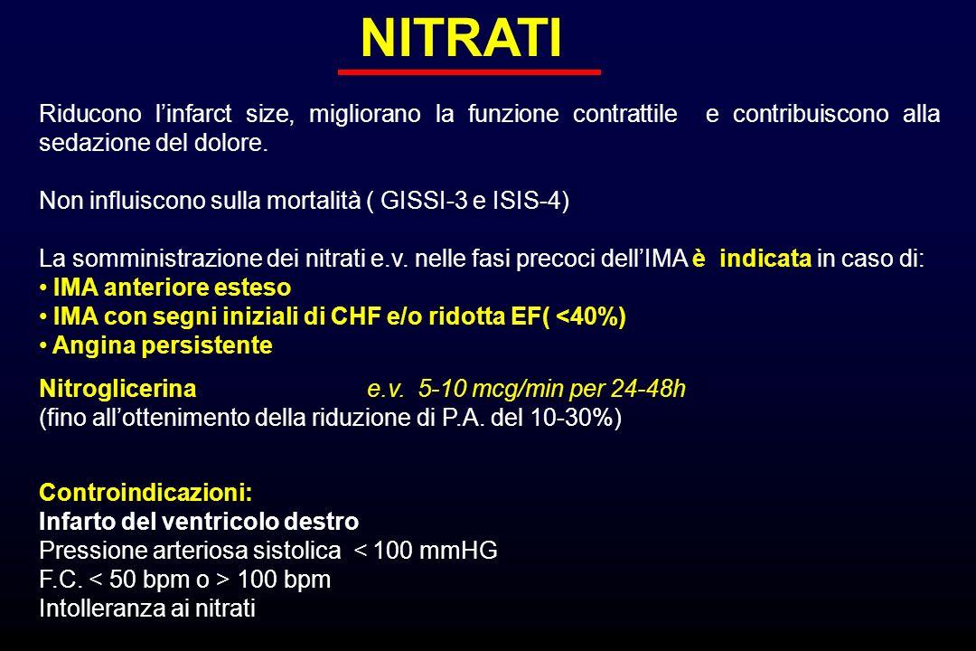 NITRATI Riducono l'infarct size, migliorano la funzione contrattile e contribuiscono alla sedazione del dolore.