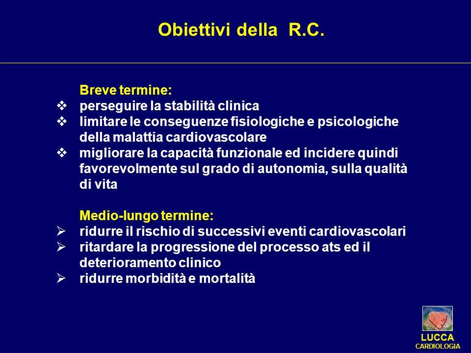 Obiettivi della R.C. Breve termine: perseguire la stabilità clinica