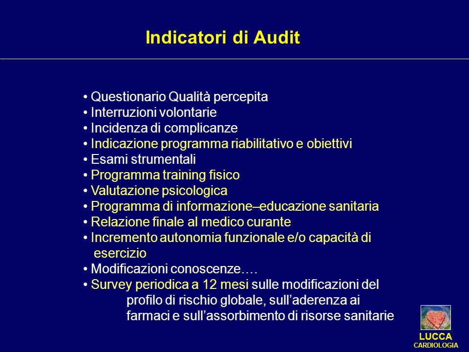 Indicatori di Audit Questionario Qualità percepita