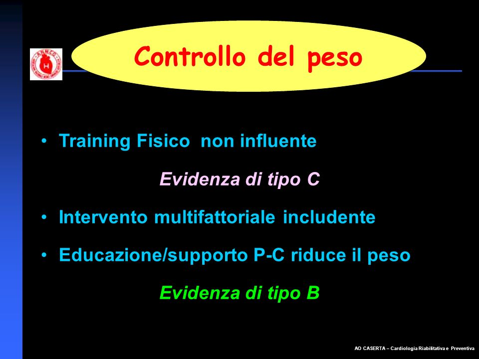 Controllo del peso Training Fisico non influente Evidenza di tipo C