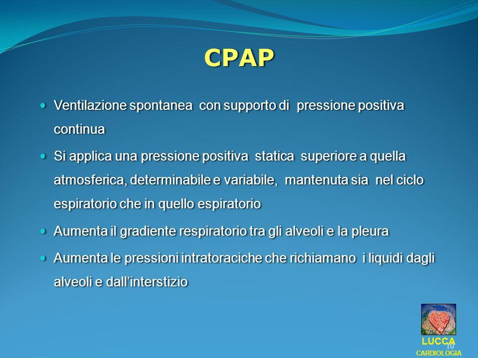 CPAP Ventilazione spontanea con supporto di pressione positiva continua.