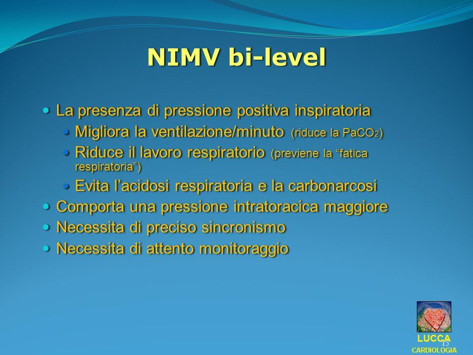 NIMV bi-level La presenza di pressione positiva inspiratoria