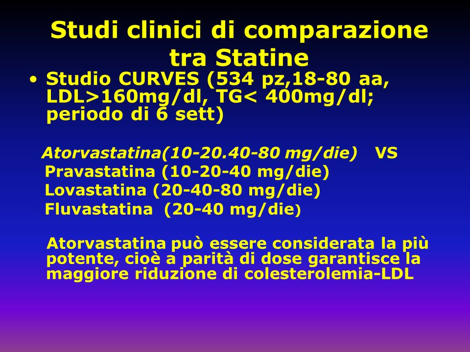 Studi clinici di comparazione tra Statine
