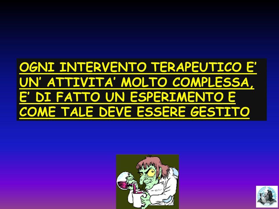 OGNI INTERVENTO TERAPEUTICO E' UN' ATTIVITA' MOLTO COMPLESSA, E' DI FATTO UN ESPERIMENTO E COME TALE DEVE ESSERE GESTITO