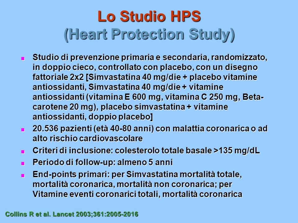 Lo Studio HPS (Heart Protection Study)