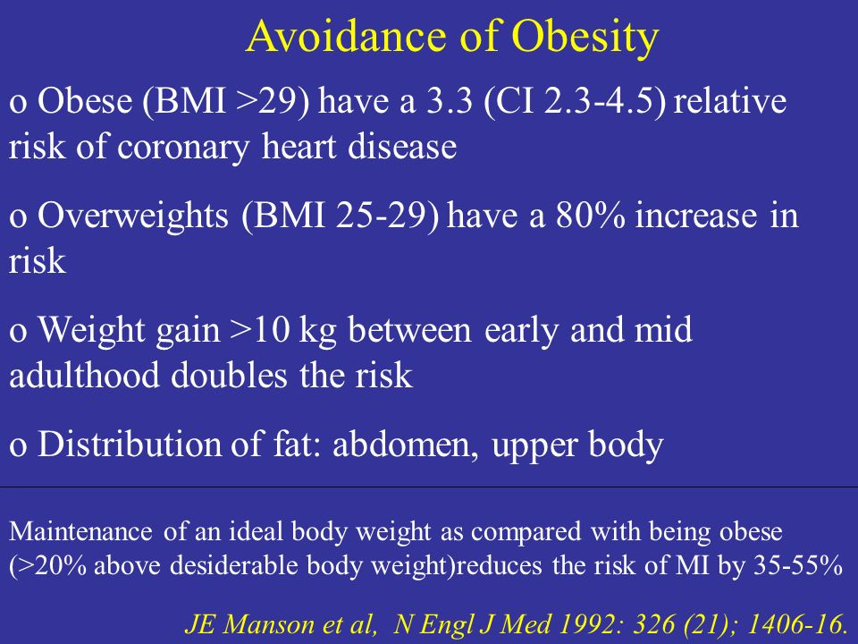 Avoidance of Obesity Obese (BMI >29) have a 3.3 (CI 2.3-4.5) relative risk of coronary heart disease.