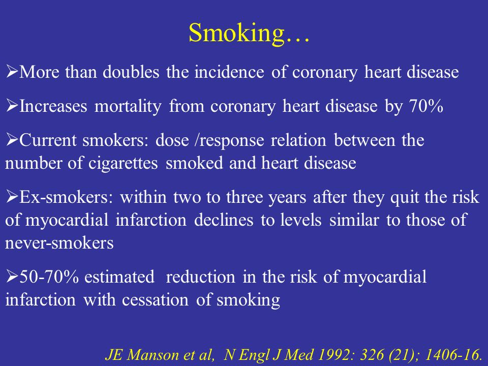 Smoking… More than doubles the incidence of coronary heart disease