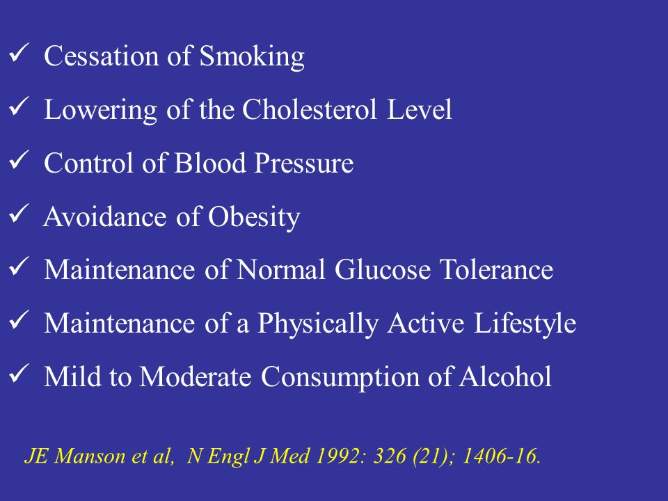 Lowering of the Cholesterol Level Control of Blood Pressure