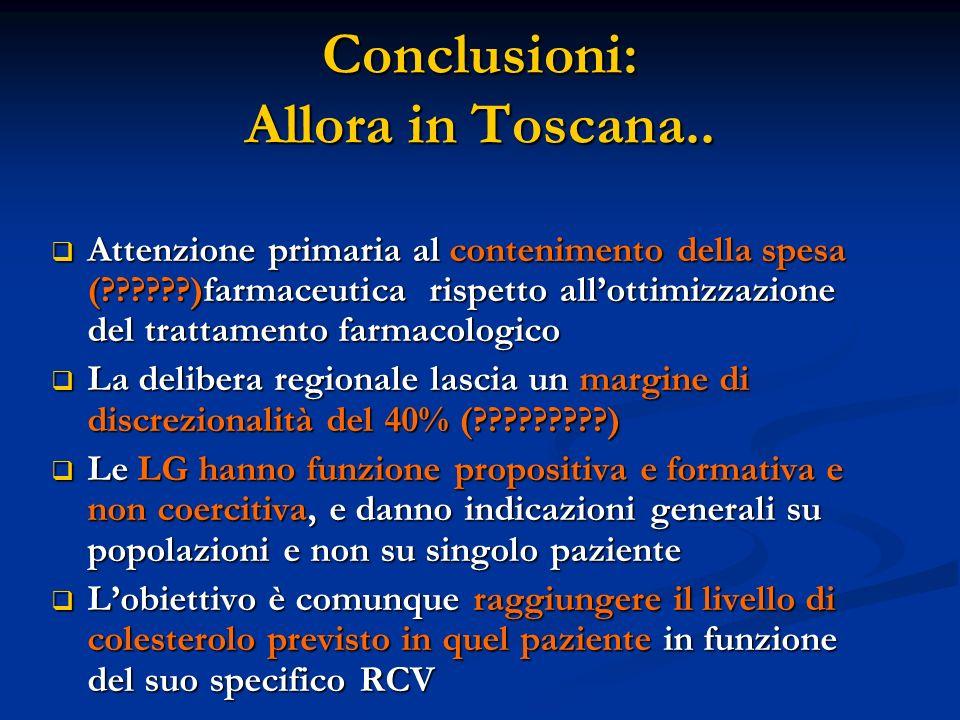 Conclusioni: Allora in Toscana..