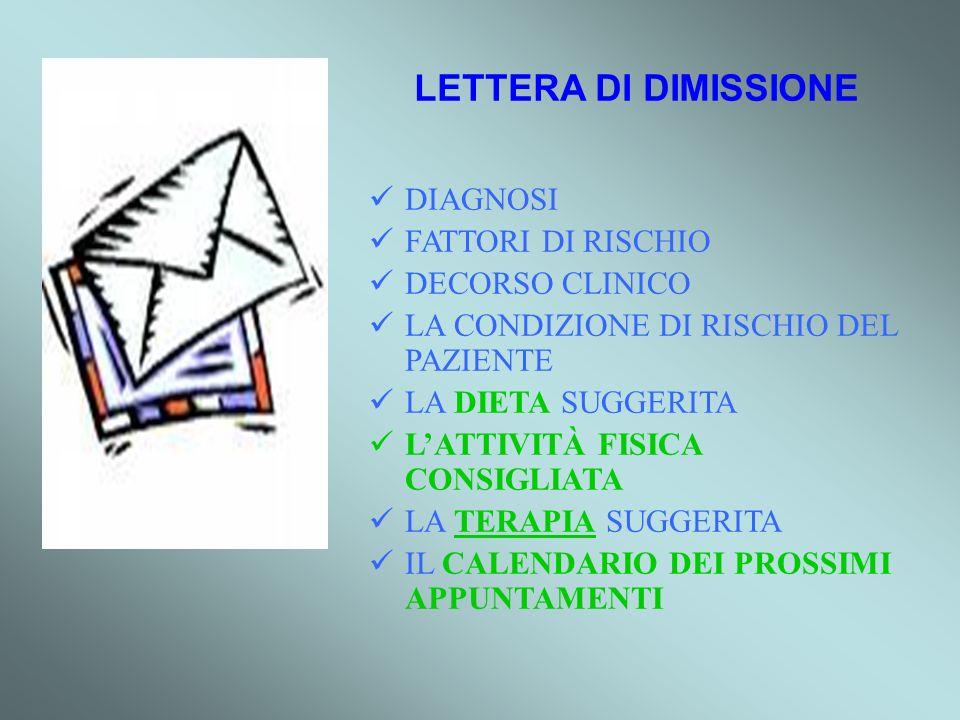 LETTERA DI DIMISSIONE DIAGNOSI FATTORI DI RISCHIO DECORSO CLINICO
