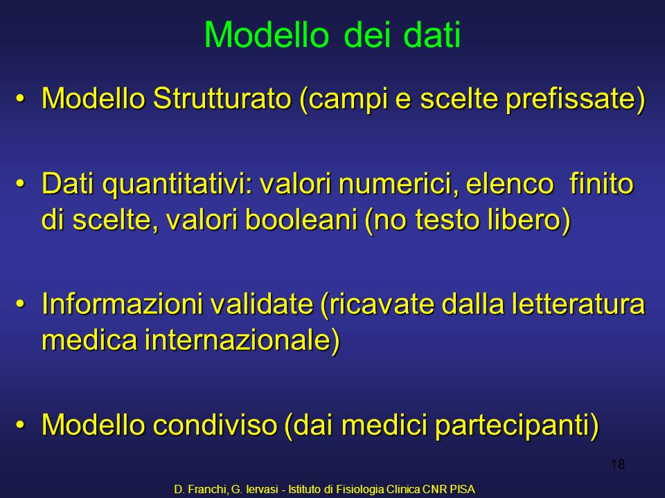 D. Franchi, G. Iervasi - Istituto di Fisiologia Clinica CNR PISA