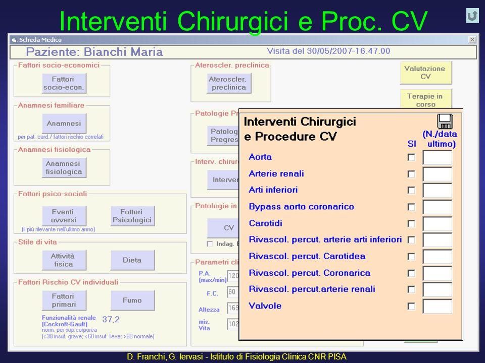 Interventi Chirurgici e Proc. CV