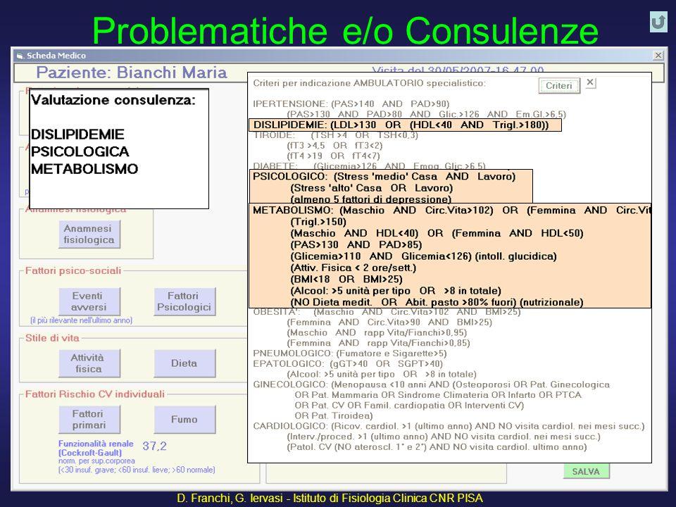 Problematiche e/o Consulenze