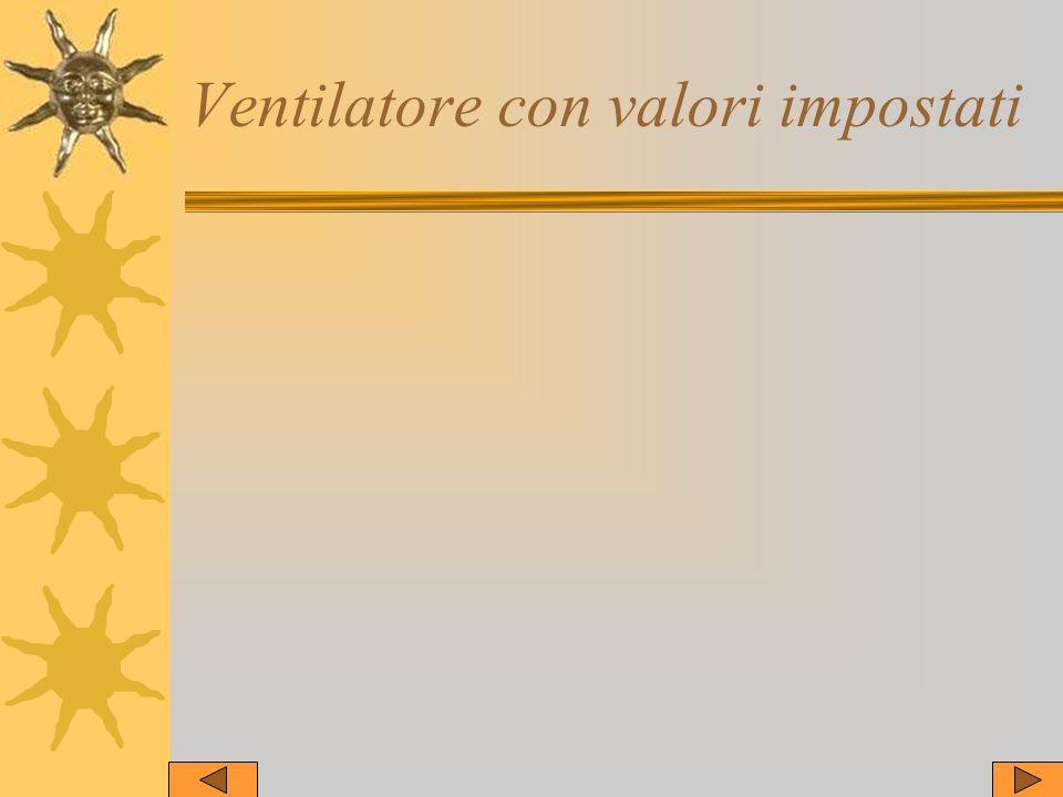 Ventilatore con valori impostati