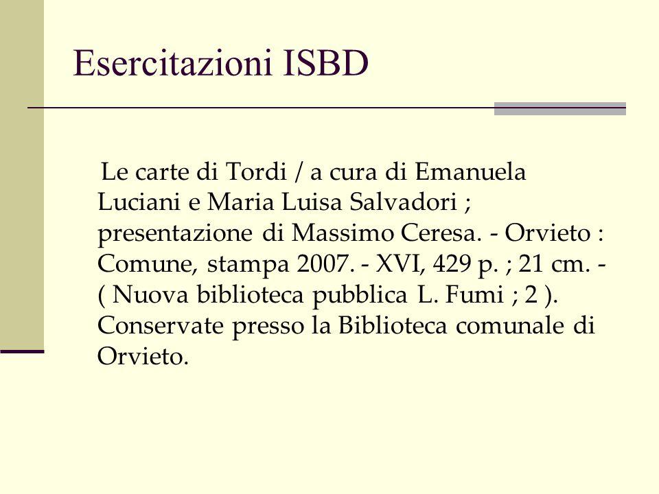 Esercitazioni ISBD