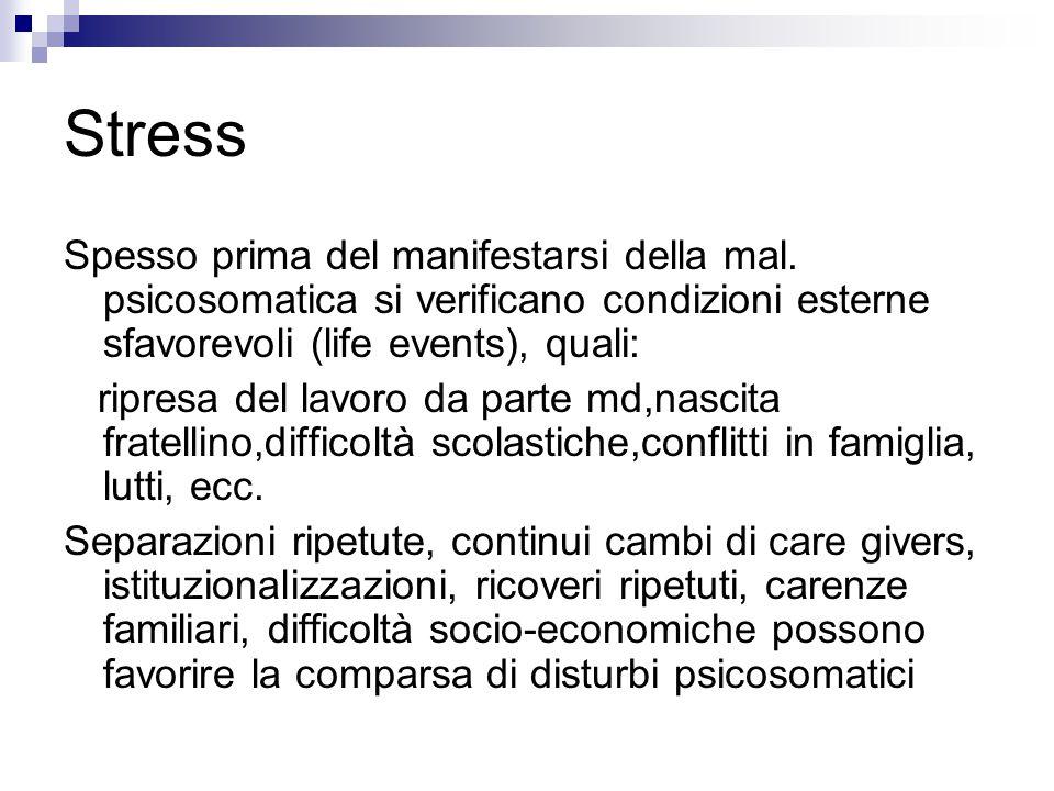 Stress Spesso prima del manifestarsi della mal. psicosomatica si verificano condizioni esterne sfavorevoli (life events), quali: