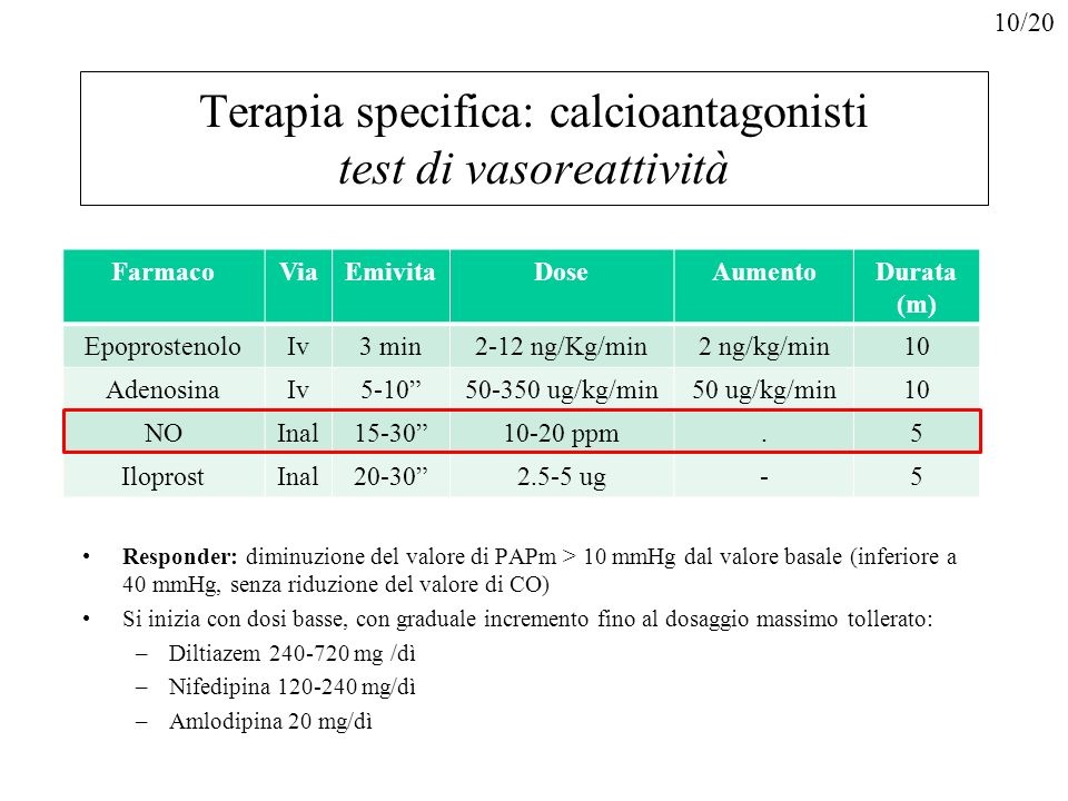 Terapia specifica: calcioantagonisti test di vasoreattività