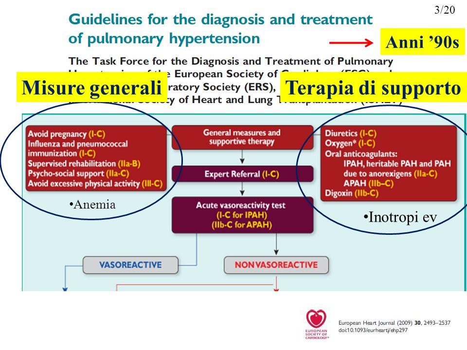 3/20 Anni '90s Misure generali Terapia di supporto Anemia Inotropi ev