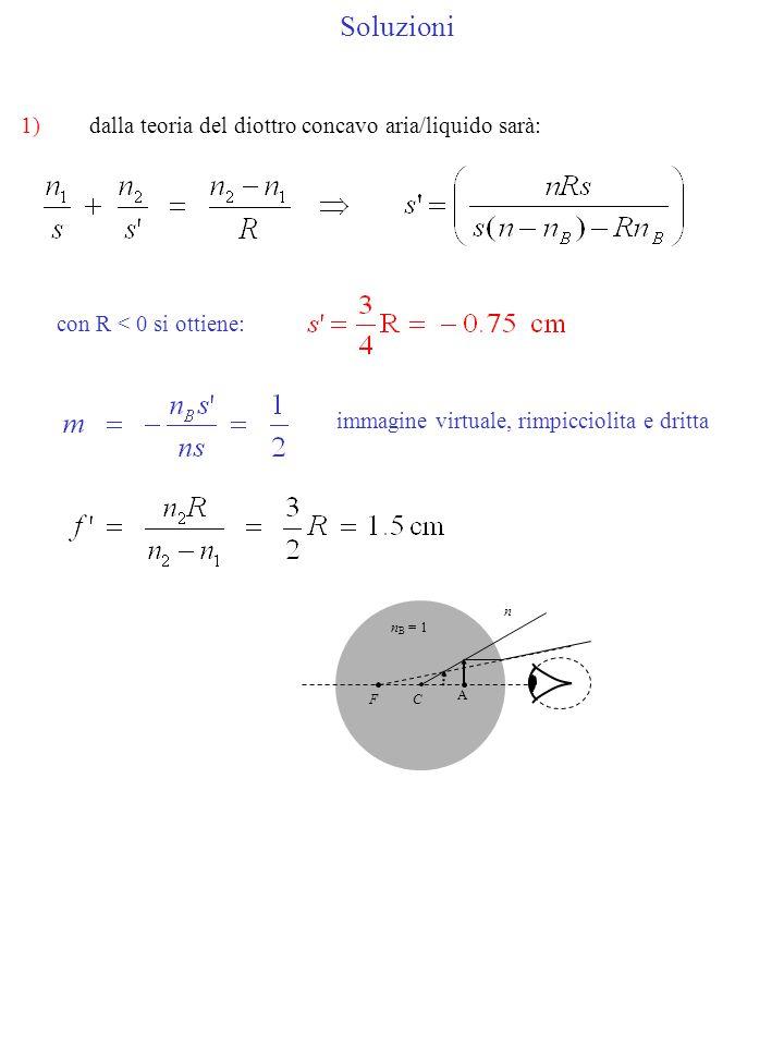 Soluzioni 1) dalla teoria del diottro concavo aria/liquido sarà: