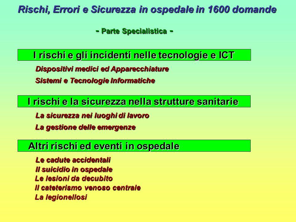 Rischi, Errori e Sicurezza in ospedale in 1600 domande