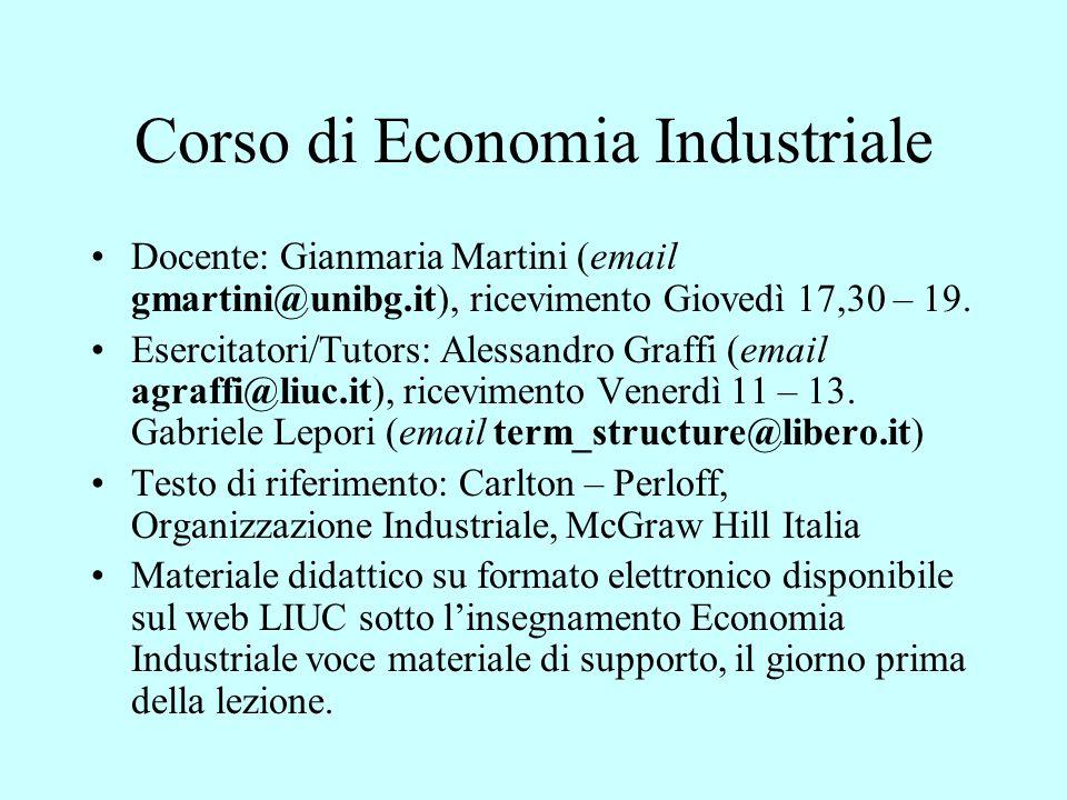 Corso di Economia Industriale