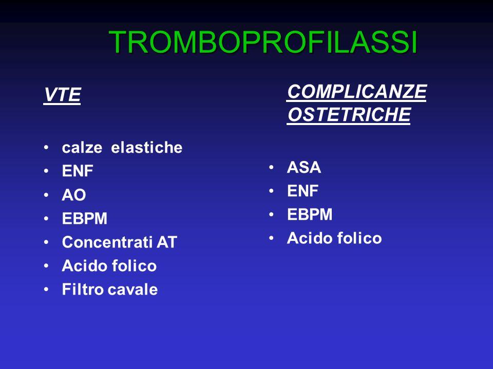 TROMBOPROFILASSI VTE COMPLICANZE OSTETRICHE calze elastiche ASA ENF