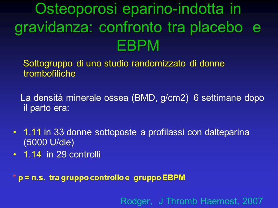 Osteoporosi eparino-indotta in gravidanza: confronto tra placebo e EBPM