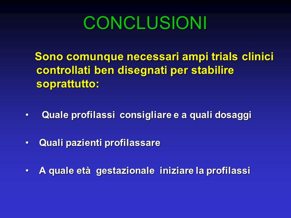 CONCLUSIONI Sono comunque necessari ampi trials clinici controllati ben disegnati per stabilire soprattutto: