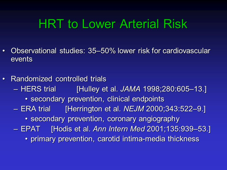 HRT to Lower Arterial Risk