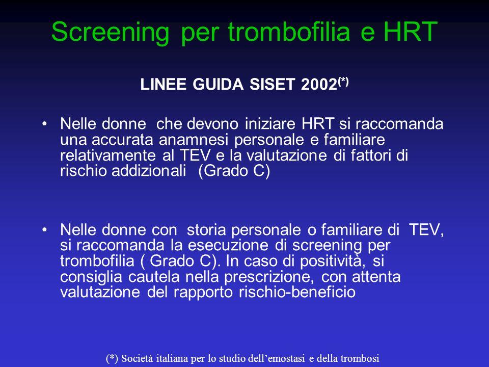 Screening per trombofilia e HRT