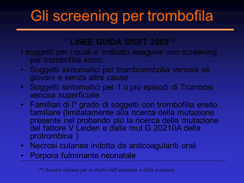 Gli screening per trombofila