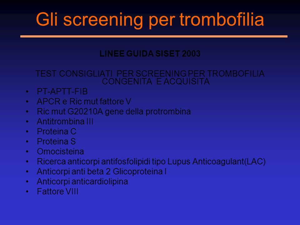 Gli screening per trombofilia