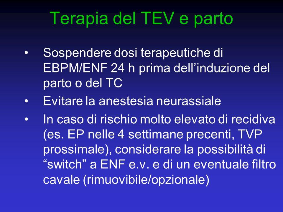 Terapia del TEV e parto Sospendere dosi terapeutiche di EBPM/ENF 24 h prima dell'induzione del parto o del TC.