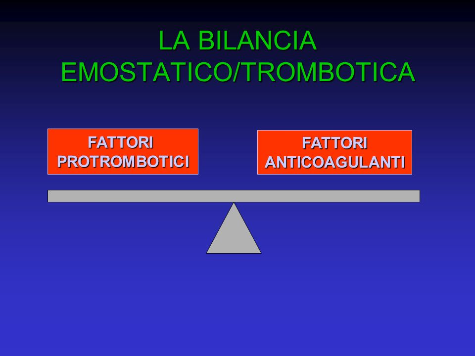 LA BILANCIA EMOSTATICO/TROMBOTICA