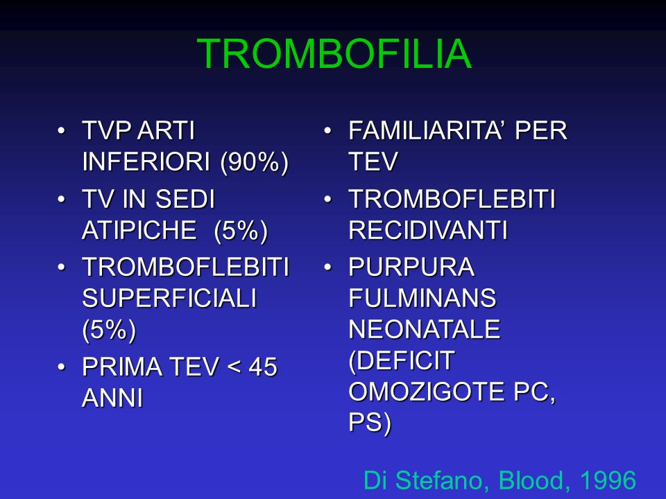 TROMBOFILIA TVP ARTI INFERIORI (90%) TV IN SEDI ATIPICHE (5%)