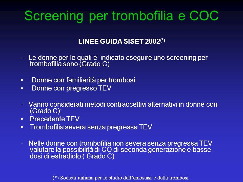 Screening per trombofilia e COC