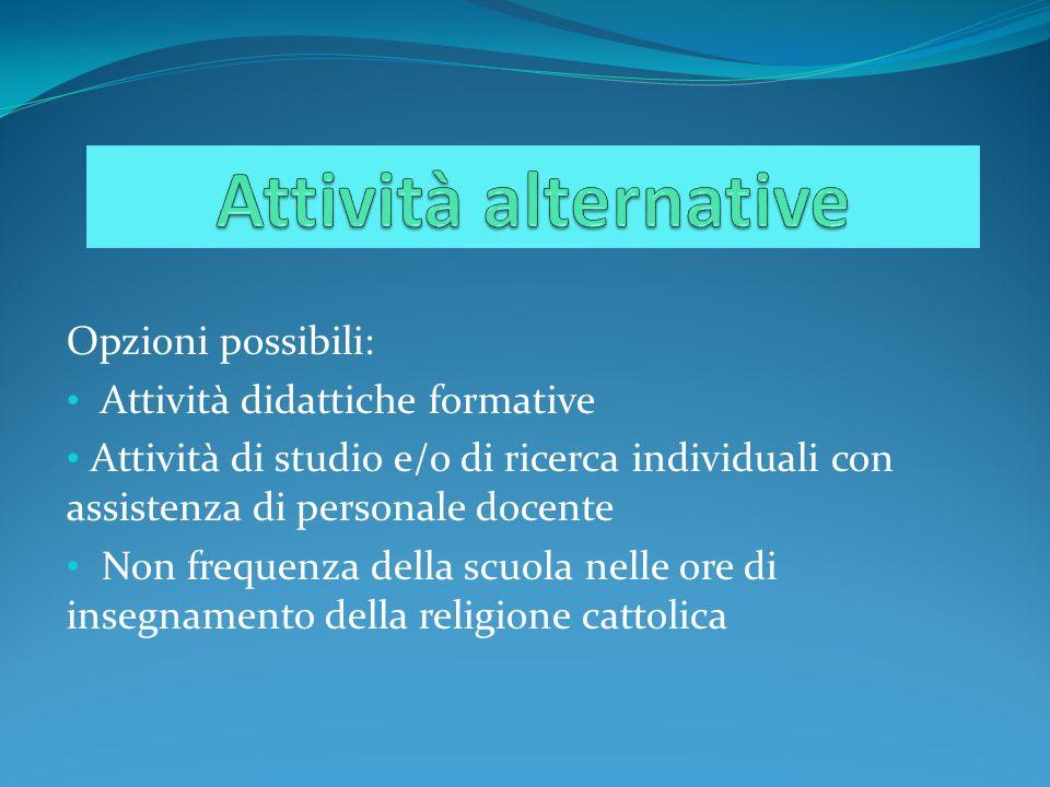 Attività alternative Opzioni possibili: Attività didattiche formative