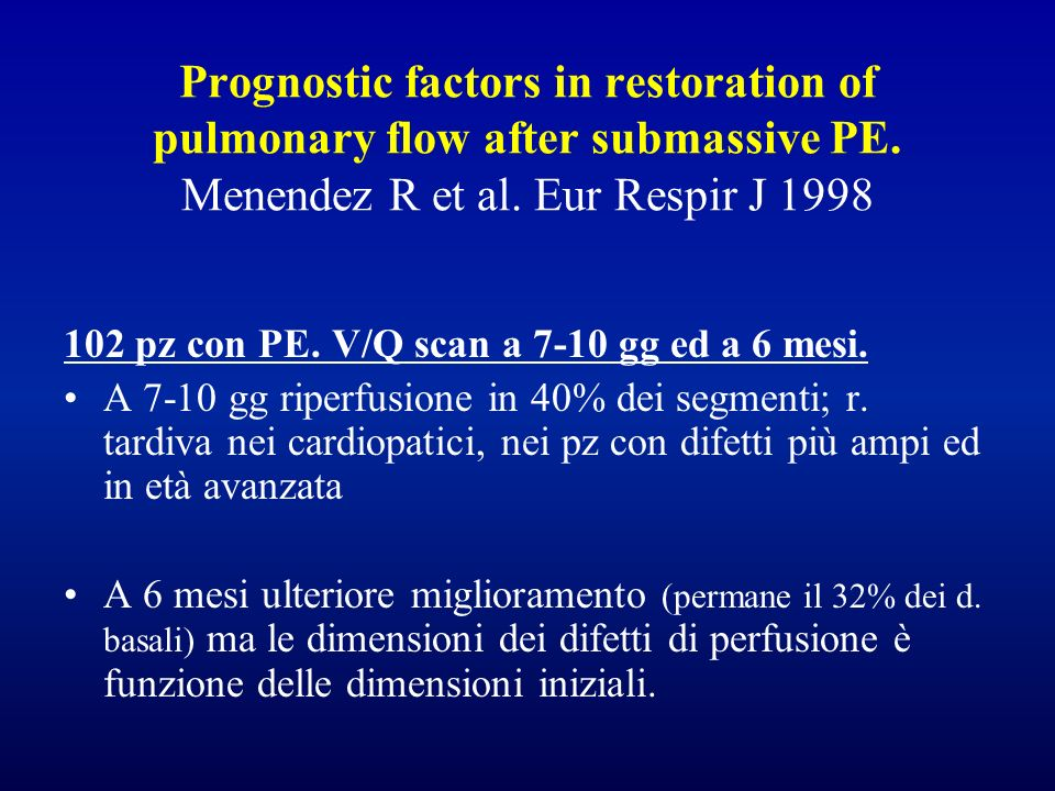Prognostic factors in restoration of pulmonary flow after submassive PE. Menendez R et al. Eur Respir J 1998