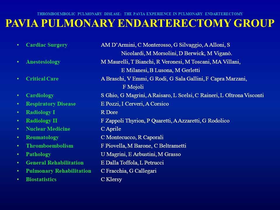 PAVIA PULMONARY ENDARTERECTOMY GROUP