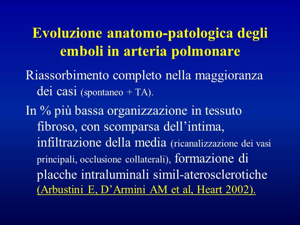 Evoluzione anatomo-patologica degli emboli in arteria polmonare