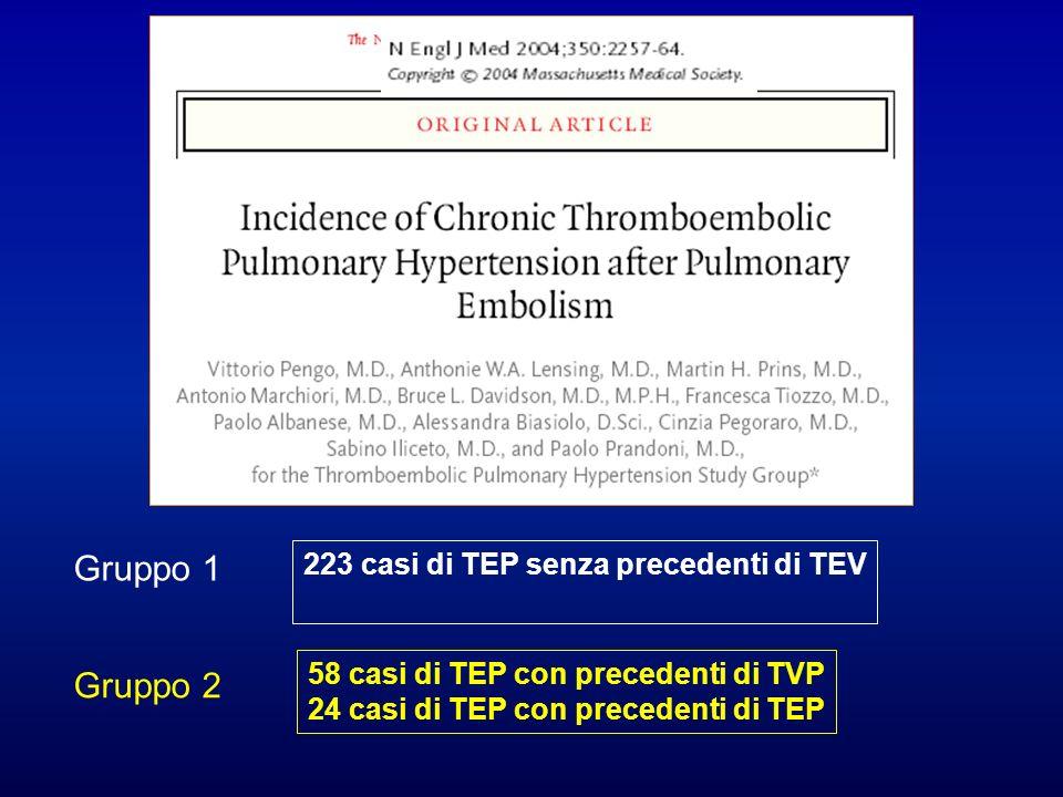 223 casi di TEP senza precedenti di TEV